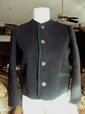 German Traditional Trachten Jacket  Black / Green Trim and red Lining  Sz S