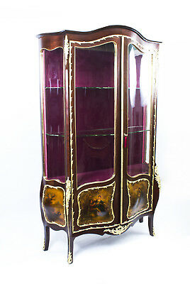 Antique French Kingwood Vernis Martin Display Cabinet c.1880