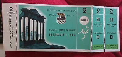 billet ticket JO jeux olympiques ROME 1960 olympic game football inutilisé