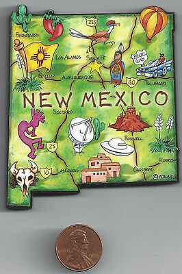 New Mexico Nm  Artwood State Map Magnet  Los Alamos  Santa Fe  Albuquerque