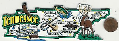 Jumbo Tennessee  State  Map  Magnet 7 Color  Nashville Knoxville  Chattanooga