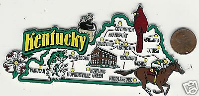 Kentucky  Jumbo  State  Map Tourist Magnet 7 Color  Frankfort, Louisville