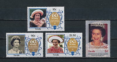 Tuvalu #357-60 MNH, Queen Elizabeth 60th Birthday 1986