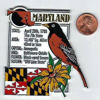 MARYLAND  STATE MONTAGE FACTS MAGNET with state  bird  flower  and flag,