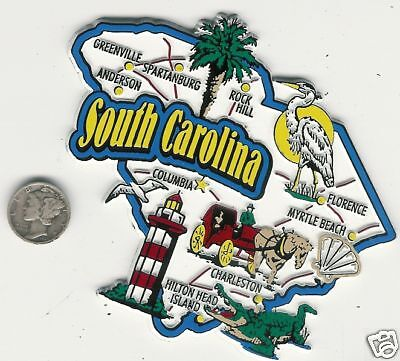 South Carolina     State  Map  Jumbo Magnet   7 Color  Columbia, Myrtle Beach