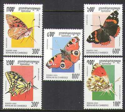 Cambodia 1995 Butterflies/Insects/Nature 5v set (b8084)