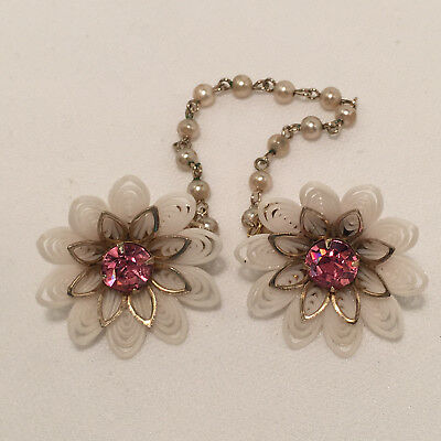 Vintage Flexible White Plastic Flower & Pink Rhinestone  Sweater Guard/clips!