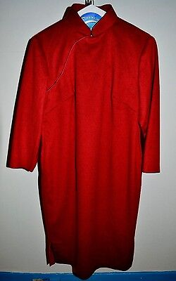 VTG 1960s Cheong-sam Fleece Burgundy Wine Red Lined Dress M
