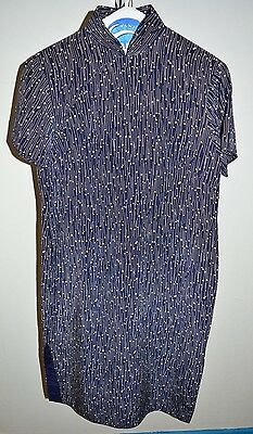 VTG 1960s Cheong-sam Silk Navy Blue Taupe Geometric Print Dress M