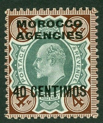 SG 117a Morocco agencies 4d deep green & Choc brown, Pristine unmounted mint
