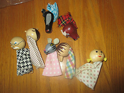 lot of 7 vintage finger puppets people mouse bear cow cloth wood heads painted