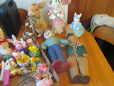 large lot vintage easter decorations bunny basket roly poly peter rabbit bugs