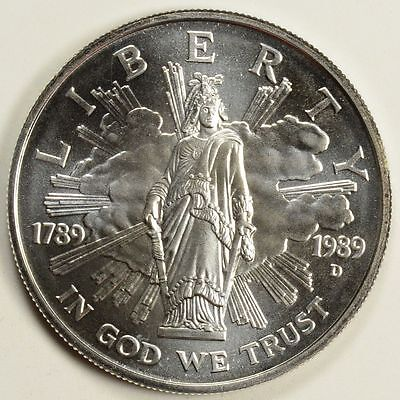 1989-D $1 Bicentennial of Congress Commemorative Silver Dollar UNCIRCULATED