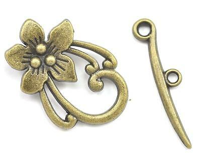 10x Antique Bronze Brass Finish Zinc Alloy Toggle Clasp for Jewellery Making