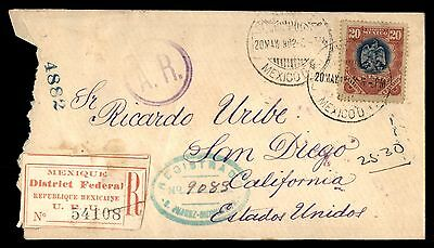Mexico to US San Diego Acknowledegment of Receipt 1902 Registered Cover El Paso