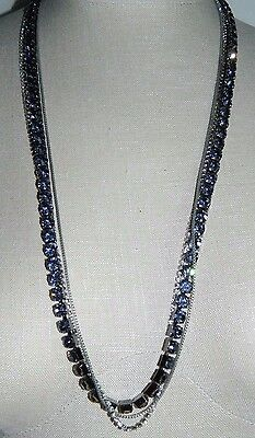 VTG Designer Signed PA Gray Clear Rhinestone Multi-Strand Necklace