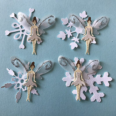 Winter Fairy Fairies with wings and snowflakes Die Cuts (Toppers)