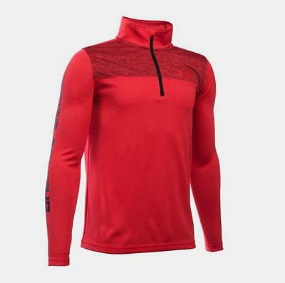 Under Armour Tech Prototype Jungen Long Sleeve Sweatshirt 1/4 Zip Rot Neu