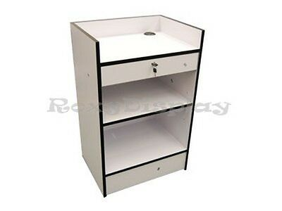 White Cash Register Stand Display Store Fixture Knocked Down #SCR-CW