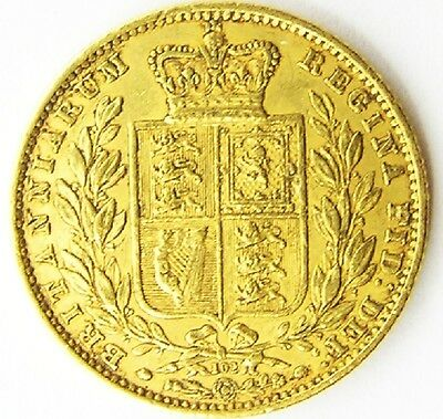 Nice 1864 Gold Sovereign of Queen Victoria Good Portrait & Shield Back Die #102