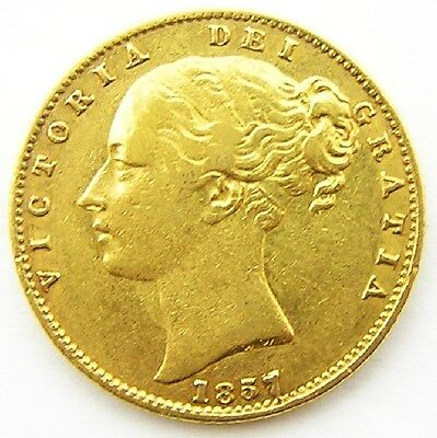 A Nice 1857 Gold Sovereign of Queen Victoria Good Portrait With Shield Back