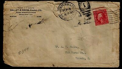 USA STAMP COVERS/ Sc.# 344 ON COVER. CANCELLED. COVER IN ONLY FAIR COND. STAMP O