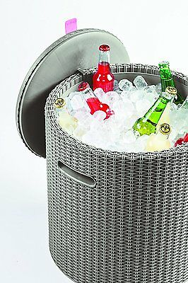 Keter Knit Cool Stool Outdoor Cool Bar Ice Cooler Garden Furniture Brand new