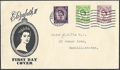 FDC 1954 3d 6d 7d definitives first day cover good condition