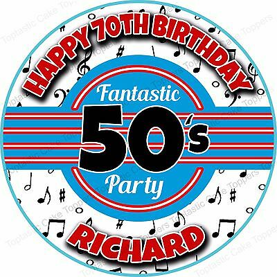 Personalised Fantastic 50s Party Fifties Edible Icing 1950s Birthday Cake Topper