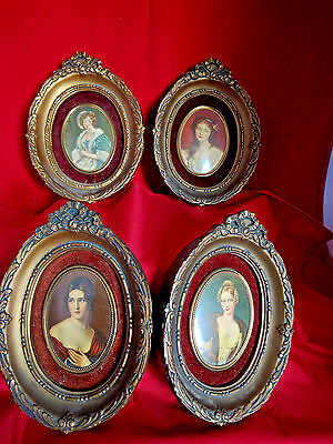lot of 4 A CAMEO CREATION Vintage Oval Wall Hangings of Victorian Ladies