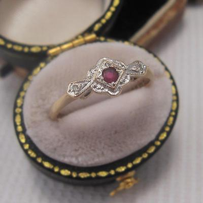 VINTAGE ART DECO STYLE RUBY and DIAMOND RING in 9ct GOLD size N
