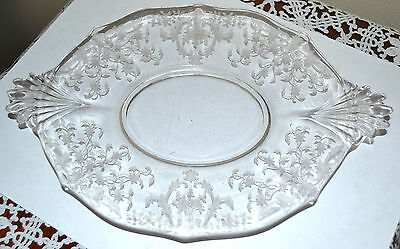 Vintage Navarre Fostoria, Clear Glass Etched Relish, Cookie, Candy Handle Plate