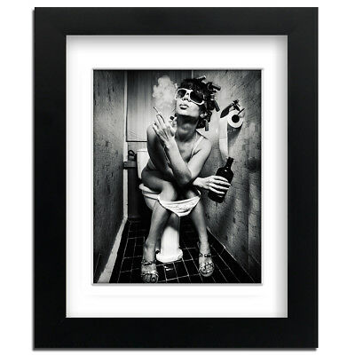 Girl Smoking on Toilet - Street Art - professionally Framed art print with mount