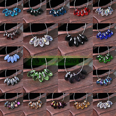 20PCS 12x6mm Teardrop Shape Tear Drop Glass Faceted Loose Crystal Beads