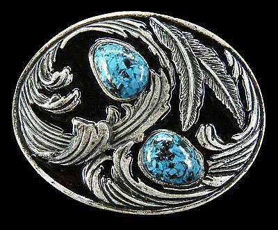 Aztec Blue Stone Native Art Hippie Era Floral Flower Belt Buckle Boucle Ceinture