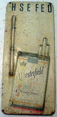 Vintage Chesterfield Cigarettes Metal Wall-Hanger Thermometer