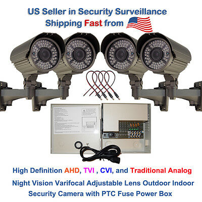 4 Powerful Night Vision 1080P CCTV Bullet Security Camera w Power Supply DC Jack