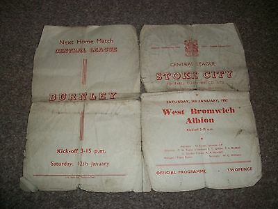 STOKE CITY RESERVES v  WEST BROMWICH ALBION RESERVES 1956/57 Very Poor condition