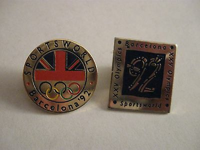 Two Rare Old 1992 Barcelona Olympic Games Sportsworld Enamel Press Pin Badges