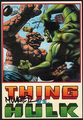 Matt Wagner SIGNED Marvel Comic Super Hero Art Post Card Incredible Hulk v Thing