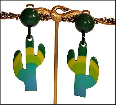 FRENCH Designer DANGLING CLIP ON CACTUS EARRINGS -GREEN SHADES