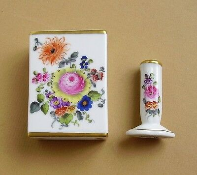 Herend BOUQUET DE HEREND Match Box Holder BHR/7914 & Tamper/Ring Stand BHR/7940