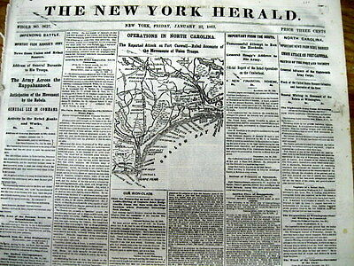 1863 Civil War newspaper LEE COMMANDS CONFEDERATE ARMY + MAP of NORTH CAROLINA