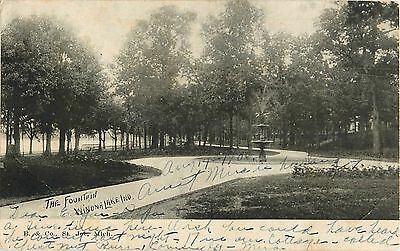 1906 The Fountain, Winona Lake, Indiana Postcard