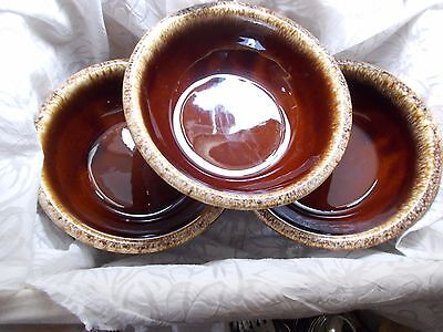 """Hull Brown Drip Pottery USA - Lot of Three 6 5/8"""" Soup / Cereal Bowls"""