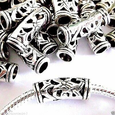 Lot of 50 EUROPEAN CHARM Large Core CURVED TUBE Beads Antique Silver N06