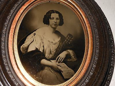Beautiful Woman w/Guitar &  Music 1/2 Plate Ambrotype -Thermoplastic  Frame