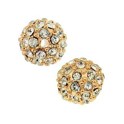 Beadelle Crystal 8mm Round Pave Bead - Rose Gold Plated / Crystal (1 Piece)