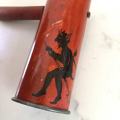 Vintage Halloween Noisemaker Devil Witch Made in Japan Tin Ratchet