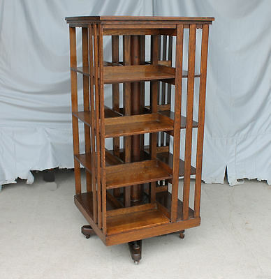 Antique Revolving Oak Bookcase – original finish – Danner - mission style